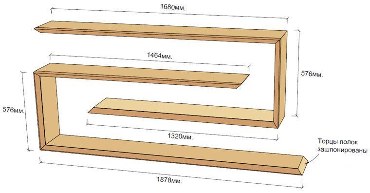 Схема размеров полки